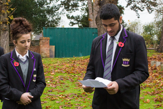 ARK Kings Academy Head Girl and Head Boy for 2014-15 Demi Keenan and Sufiyan Aziz deliver reading at Remembrance Day 2014