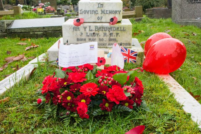 Wreath placed on War Grave at St Nicolas' Church in Kings Norton by pupils and students of ARK Rose Primary and ARK Kings Academy