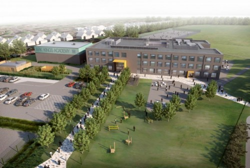 Aerial view of plans for ARK Kings Academy's new school building