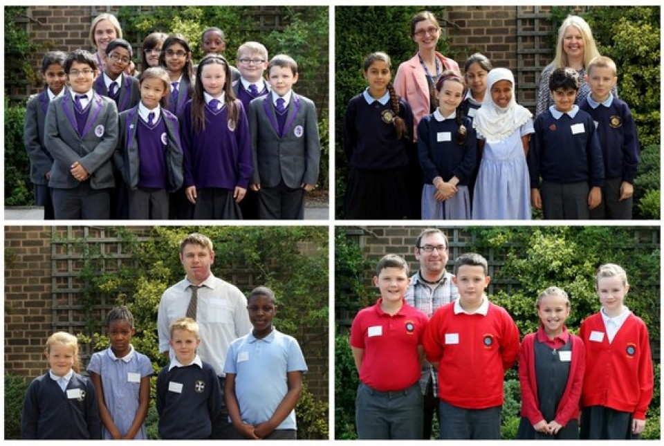 Group photos of pupils from local primary schools in South Birmingham attending a spelling bee competition at ARK Kings Academy