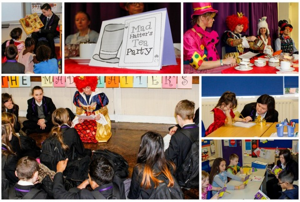 Collage of images from World Book Day 2015 featuring students reading to ARK Rose Primary Academy pupils and our Mad Hatter's Tea Party reading lunch