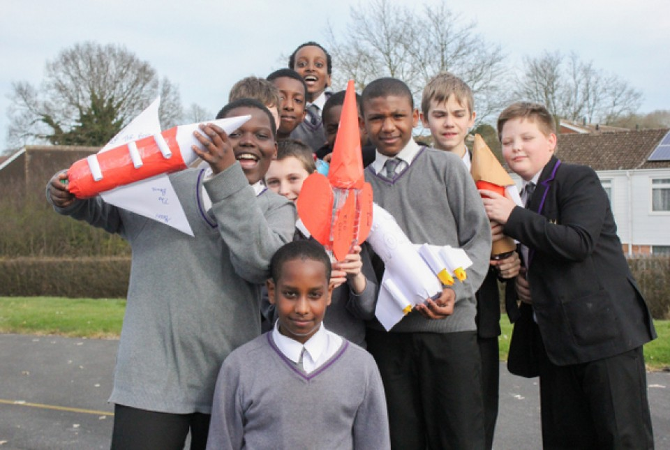ARK Kings Academy students with their bottle rockets ahead of the big launch