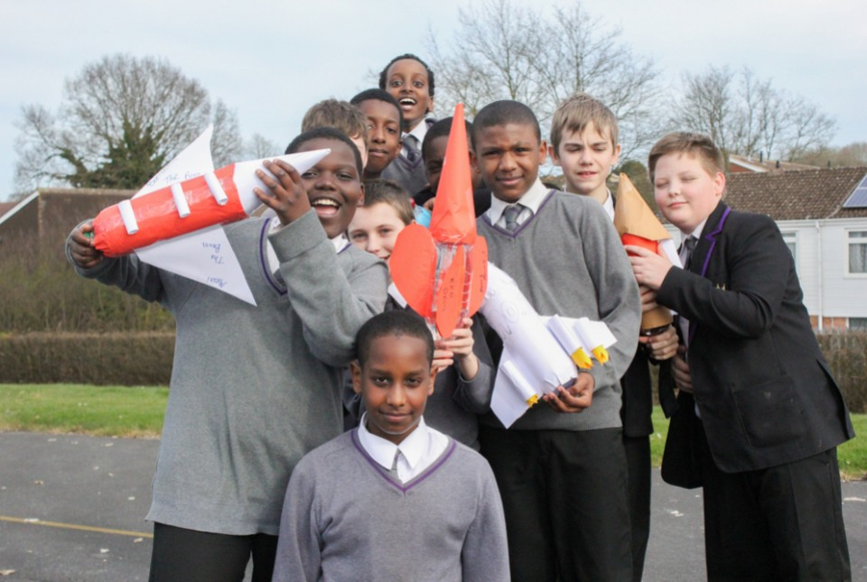 ARK Kings Academy students with the water bottle rockets they made at Enrichment Day 4