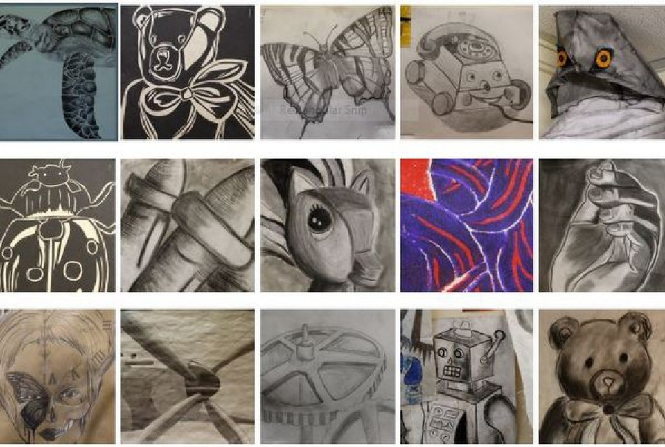Examples of art produced by year 11 GCSE Art students at ARK Kings Academy