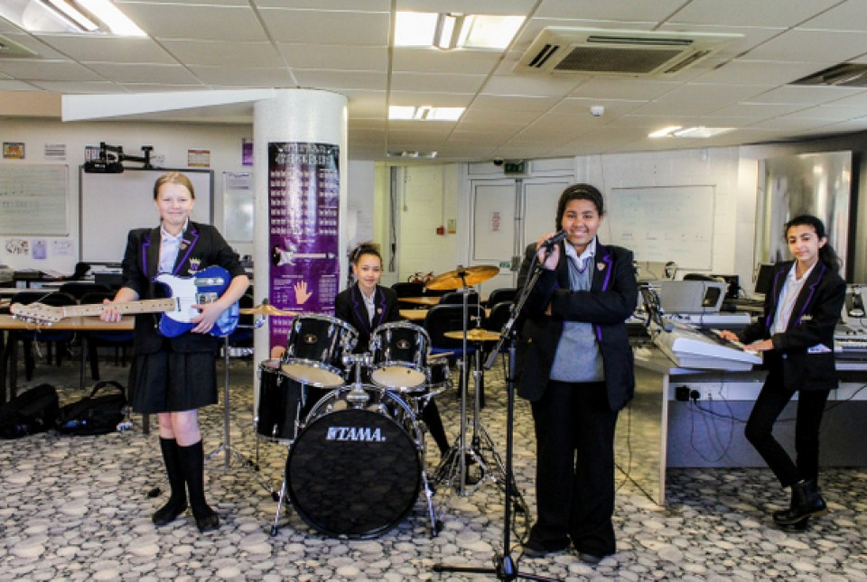 ARK Kings Academy students performing in a student band