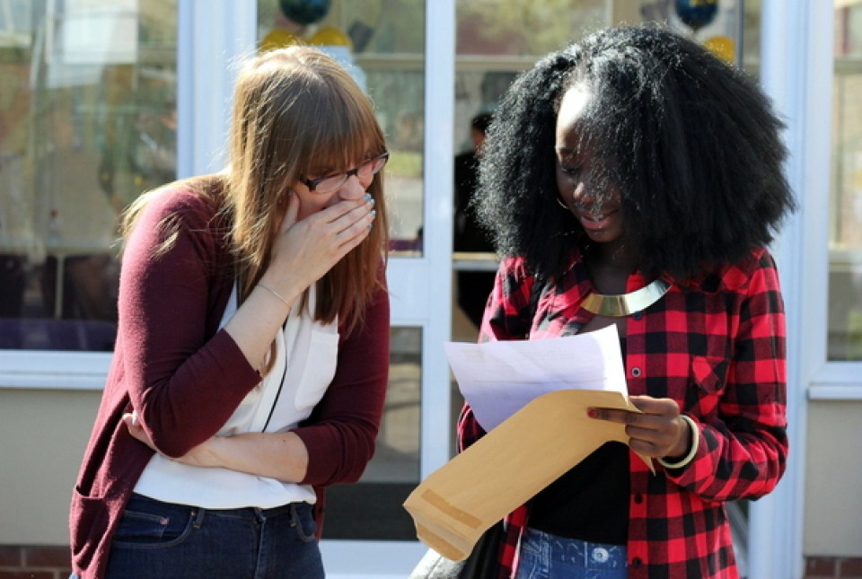 ARK Kings Academy student Mercy shares her GCSE results with her teacher Miss Rhodes