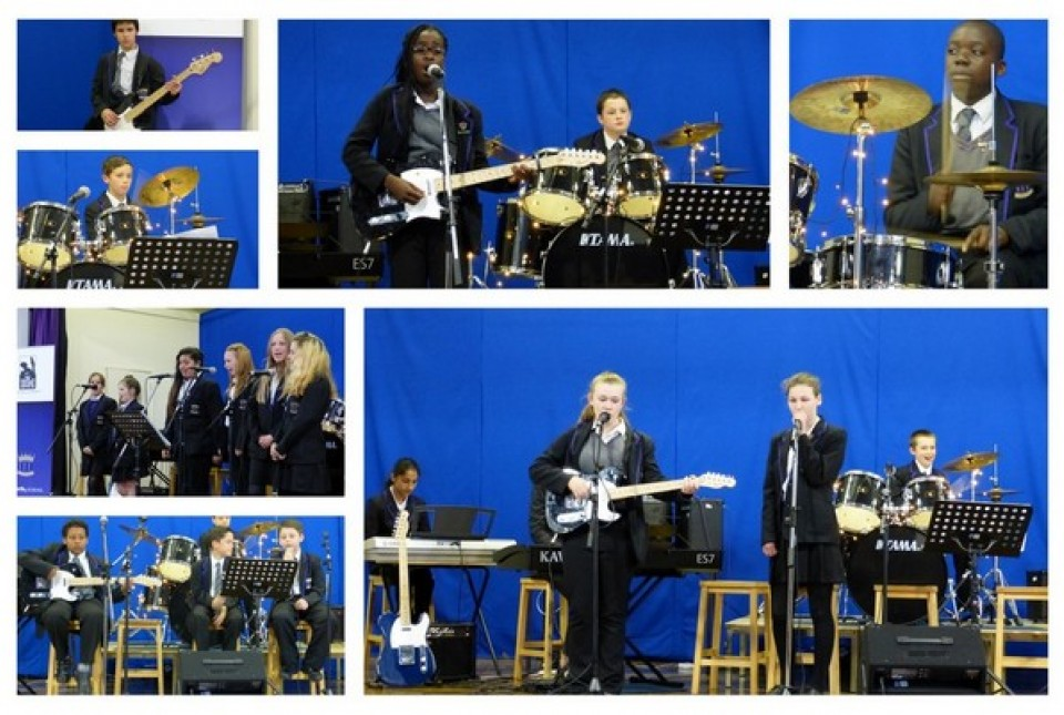 Collage of student musicians performing in groups and bands at ARK Kings Academy's Band Musicianship performance