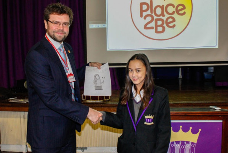 ARK Kings Academy student Chloe with Tom Rose, Head of Secondary Development at the Place 2 Be charity