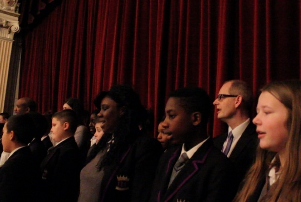 ARK Kings Academy students and staff singing together at the Sing Into Spring concert in London
