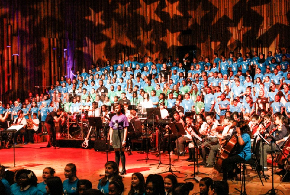 Students from across the Ark network singing in a group choir at Ark Music Gala 2015 at the Barbican arts centre