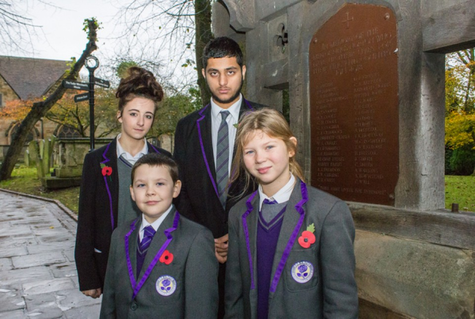 Pupils and students from ARK Rose Primary Academy and ARK Kings Academy at the St Nicolas' Church War Memorial on Remembrance Day 2014