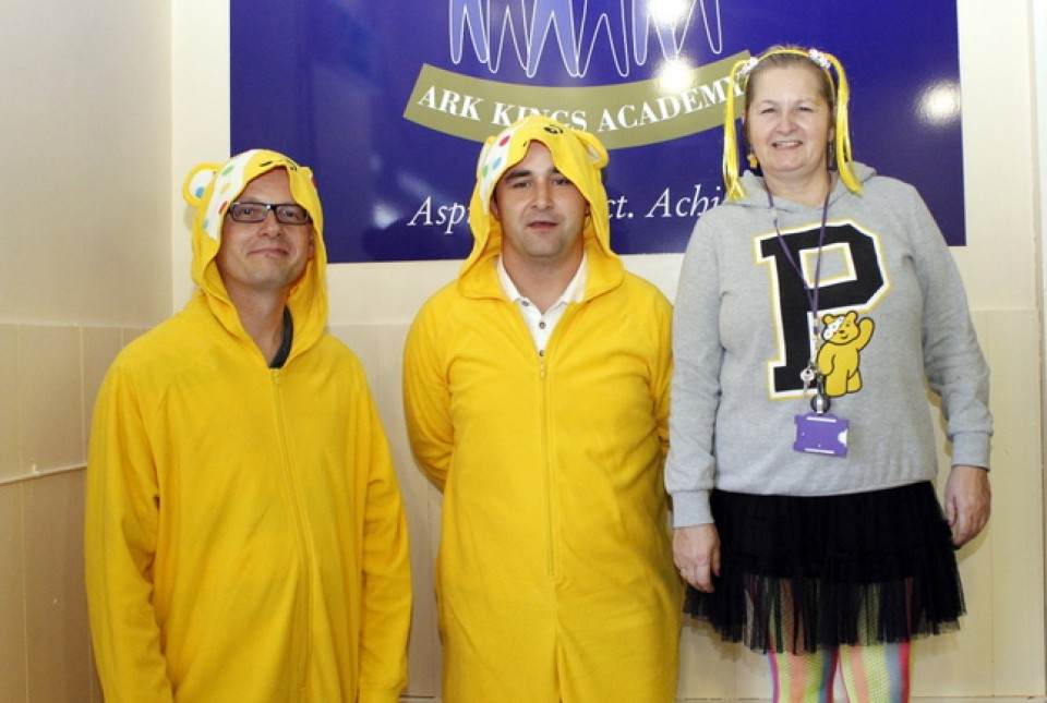 Mr Bull, Mr Bagley and Miss Buckley in fancy dress for Children in Need 2014