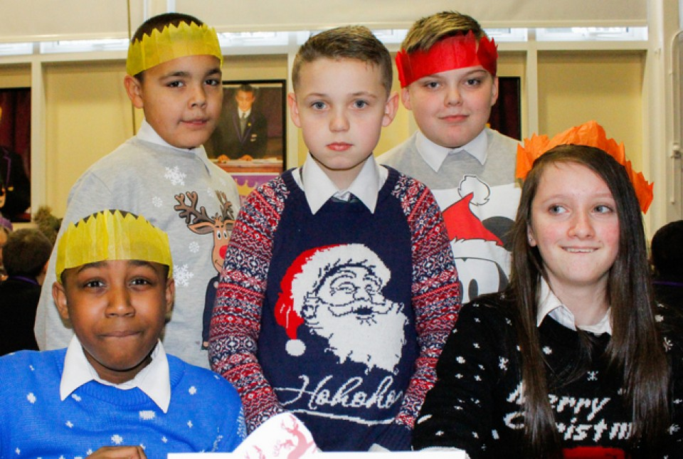 ARK Kings Academy students wearing Christmas Jumpers