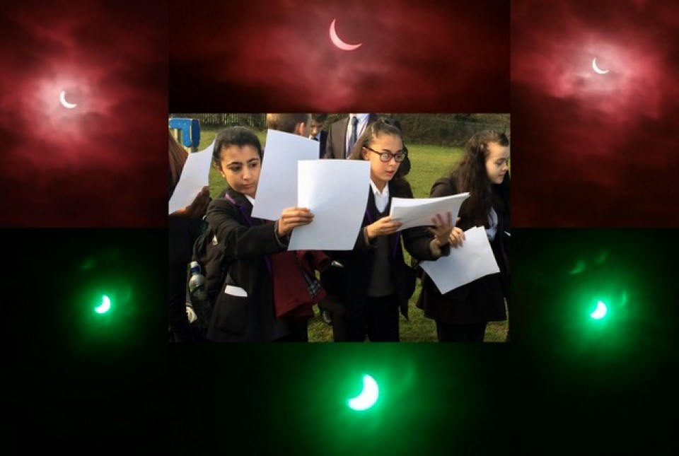 ARK Kings Academy students using home made pinhole cameras to observe the partial solar eclipse in March 2015. The photo is framed with photos of the eclipse taken through a colour filter.