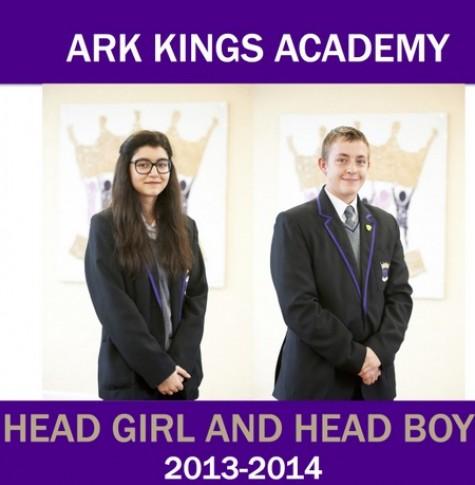 ARK Kings Academy 2013-14 Head Girl and Head Boy Samra Khan and Callum McCrea