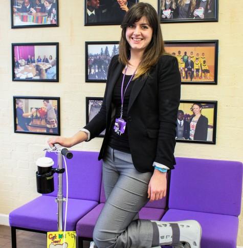 ARK Kings Academy teacher Katie Marshall using a knee scooter