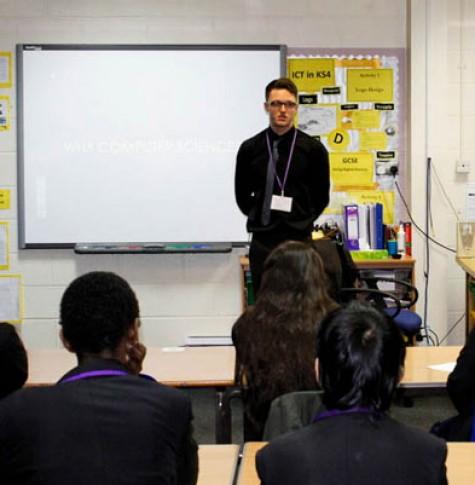 STEM Student Ambassador Scott Johnson teaching students at ARK Kings Academy